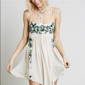 Free People Embroidered Babydoll Slip Dress
